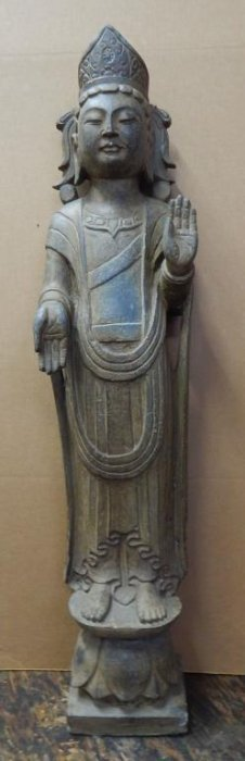 Old Carved Stone Standing Buddha