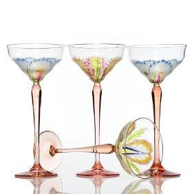 4 Meyr's Neffe Lobemeyr toasting goblets, enamel