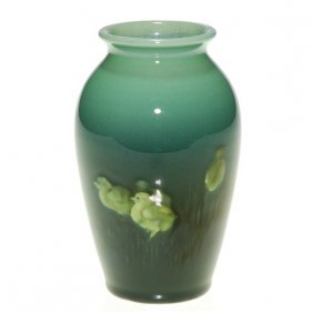 Rookwood Sea Green 4 1/2� Vase, Chicks, Baker