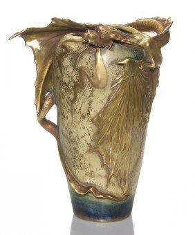 Amphora Dragon Vase Blue Iridescent Glaze 13 1 4 Lot 389