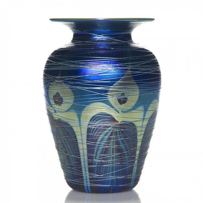 C radke phoenix glass vase threaded decor 7 1 2 lot 755 for Phoenix glass decorating co