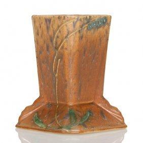 "Roseville Futura Brown Stump Vase, Shape 421-5"""