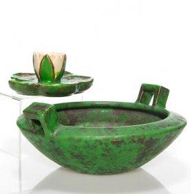"2 Weller Coppertone: 3 1/2"" Bowl, Lotus Candlestick"