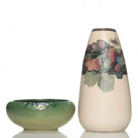 2 Weller: Hudson Bowl + White & Decorated Vase