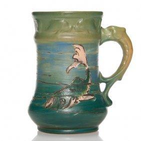"Weller Dickens Ware Mug With Fish, 329, 4 7/8"""