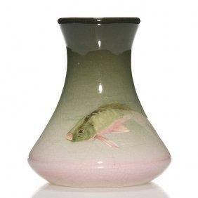 "Weller Eocean Vase, Fish, Burgess?, 5 7/8"""