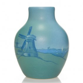 "Weller Dresden Vase, Dutch Scene, 6 1/4"""