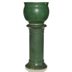 "Zanesville Stoneware Green Mat Glaze Jard, Ped, 30"""