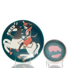 Waylande Gregory Plate With Rider, Bowl With Hippo.