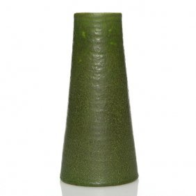 "Grueby Green Mat Vase, Tapering Cylinder, 7 3/4"""