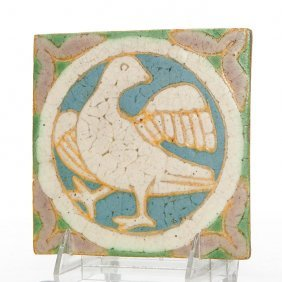 "Grueby Tile With Bird, 6"" X 6"""