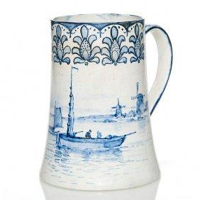 "Volkmar Blue And White Mug, Sailboats, 5 7/8"""