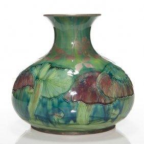 """Early Moorcroft Claremont Vase, Shreve Silver, 10"""""""