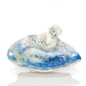 "Mougin Tray With Nude, Crystalline Glaze, 3 1/2"""