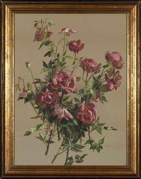 "Elizabeth Nourse W/c On Paper, Roses, 1884, 22x17"""