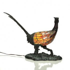 Charles Schneider Bronze, Leaded Glass, Pheasant