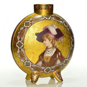 Large French Enameled Vase, E. Poitevin, 13 1/2""
