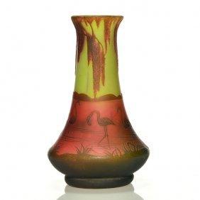 """Richard Cameo Vase, Flamingos, 5 7/8"""", Signed"""