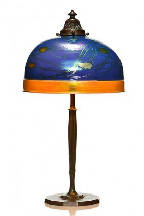 Lamp:steuben Dec. Blue Aurene Shade, Tiffany Base