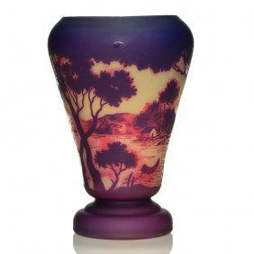 "Large Devez Scenic Cameo Vase, Houses,lake,10 3/4"""