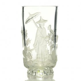 "Verlys Clear/frosted Vase, Chinese Man,9 1/4"",signed"