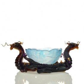 Daum Pate-de-verre Dragon Center Piece W/bowl