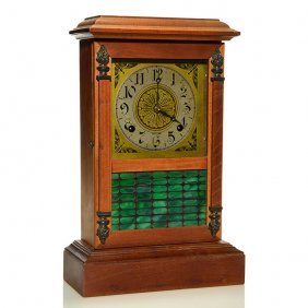 Sessions Mantle Clock, Slag Glass Door, 16 1/4""