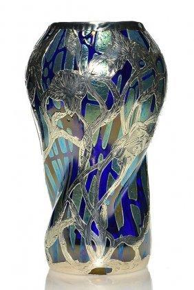 "Rare Loetz Pampas Cobalt Silver Overlay Vase,12 1/8"""
