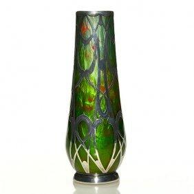 "Loetz Titania Silver Overlay Vase, 8"", Green/orange"