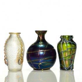 3 Austrian Vases: Loetz Nautilus + 2 Palme Konig