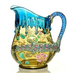 Moser Salamander Pitcher, Blue, Yellow, 7 1/4""