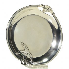 "Sanborn Sterling Tray, Leaf, Cut Outs, 6 3/4"", Marked"