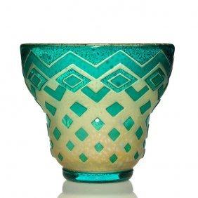 """Muller Freres Deco Cameo Vase, 7 1/4"""", Signature"""