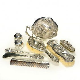 9 Piece Unger Brothers Sterling Vanity Set, Marks