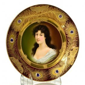 Royal Vienna Portrait Plate, Peacock Feather, 9 1/2""