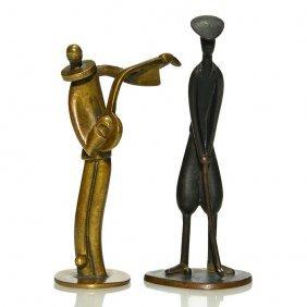 """2 Hagenauer Bronzes 3 1/2"""" Clown/musician,4"""" Golfer"""