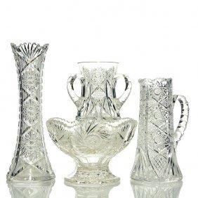 4 Cut Glass: Libbey Vase, Clark Jug, Tyg, Compote