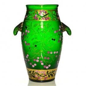 Daum Attributed Cameo Enamel Handled Vase,12 3/4