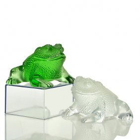 "Lalique ""gregoire"" Toad, Green + Frosted 3"","