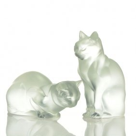 """2 Lalique Cats: 8"""" Seated + 4 1/2"""" Crouching"""