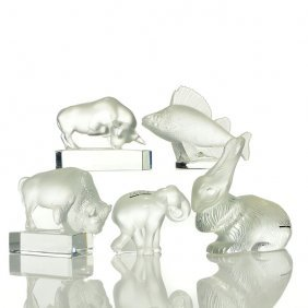 5 Lalique Paperweights:bison, Bull, Carp, Elephant