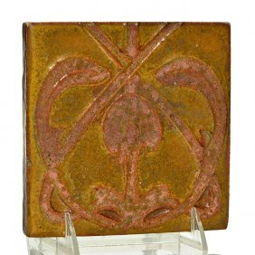 Rookwood Faience Tile, Floral, 5 7/8""
