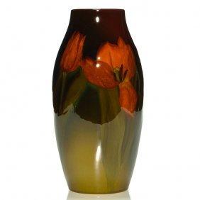 "Rookwood Standard Vase, Tulips, Mitchell, 9 7/8"""