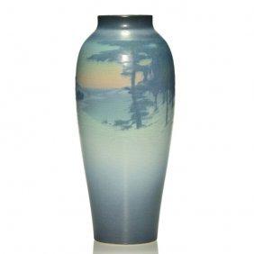 "Rookwood Vellum Scenic Vase, Coyne, '15. 12 1/4"""