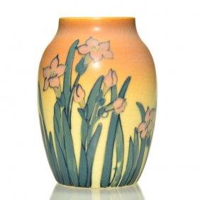 "Rookwood Vellum Vase, Mhm, 1921, 654 D, 4 5/8"""