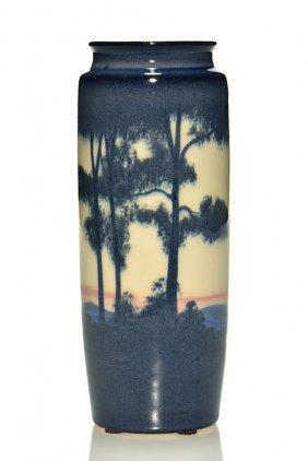 """Rookwood Porcelain Scenic Vase, Kvh, 1917, 7 3/8"""""""