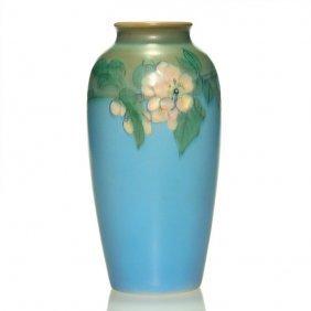 "Rookwood Vellum Vase, Floral, Steinle,1917, 7 7/8"""