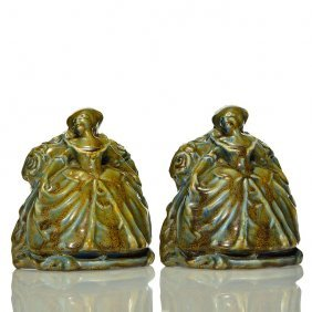 """Rookwood Pr Colonial Woman Bookends,2185, 5 3/4"""""""