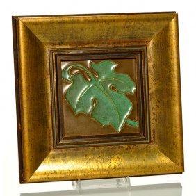 "Rookwood Faience Leaf Tile,mat Glazes,6"""