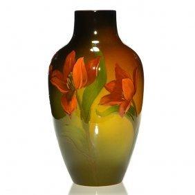 "Rookwood Standard Vase, Tulips, Daly, 1902, 14 3/4"""